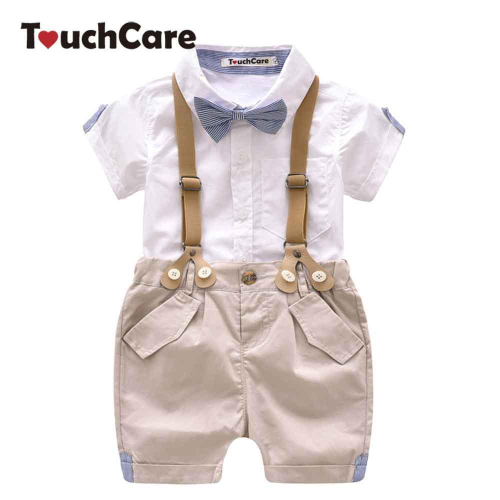 Großhandel Baby Jungen 2 Stücke Kleidung Set Sommer Säuglingshemd  Hosenanzug Formale Hochzeit Kostüm Mit Krawatte Kleinkind Hosenträgerhose  Set