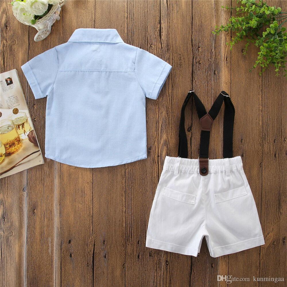 Großhandel Baby Jungen Kleidung Set Sommer Infant Gentleman Hemd Hosenanzug  Formale Hochzeit Kostüm Kleinkind Hosenträger Hosen Set Von Kunmingaa,