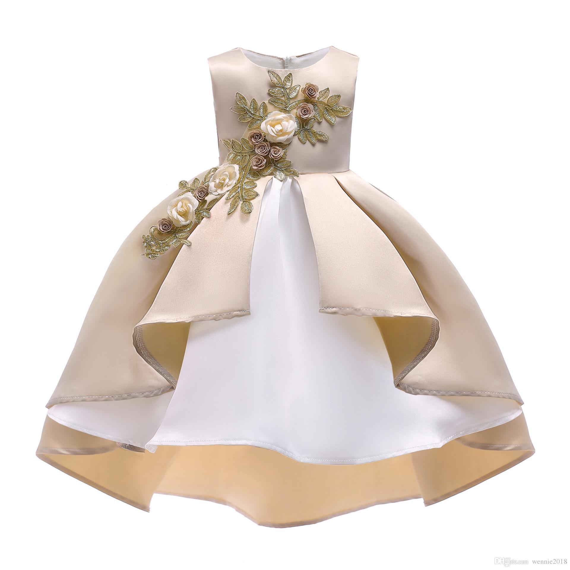 Großhandel Baby Mädchen Stickerei Seide Prinzessin Kleid Für Hochzeit  Kinder Kleider Für Kleinkind Mädchen Kinder Mode Weihnachten Kleidung ..  Von