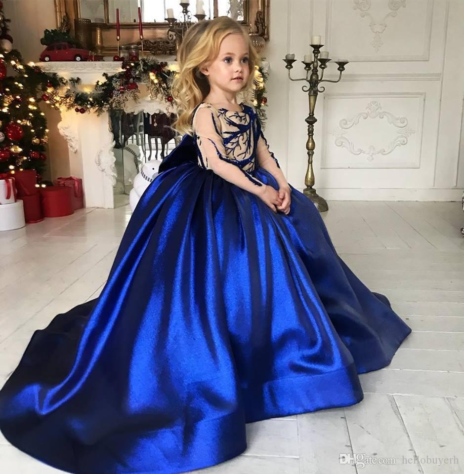 Großhandel Ballkleid Königsblau Langarm Prinzessin Blume Mädchen Kleid Für  Hochzeit Kinder 2019 Baby Mädchen Party Tragen Erste Geburtstag Kleider Mit
