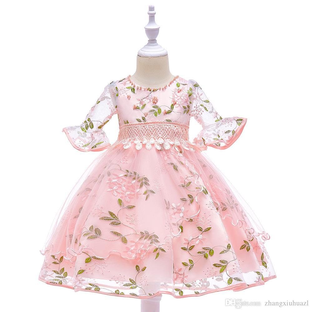 Großhandel Blumenmädchen Hochzeitskleid Kinder Kleidung Prinzessin Sling  Party Kleider Für Mädchen Kleider Kinder Kommunion Kleid Teenager Mädchen