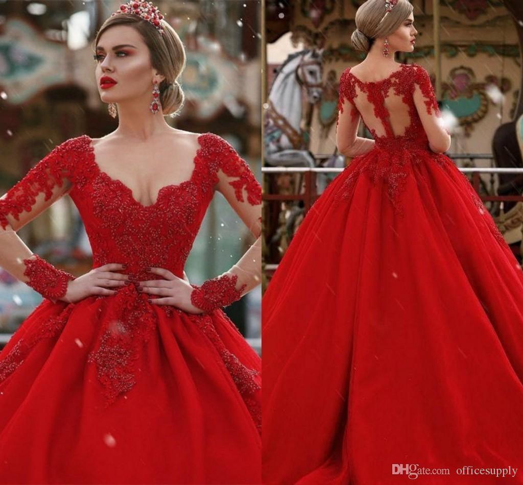 Großhandel Designer Lange Rote Kleider Abendgarderobe A Line V Ausschnitt  Lange Illusion Ärmel Illusion Zurück Perlen Formal Abendkleid Party Kleider