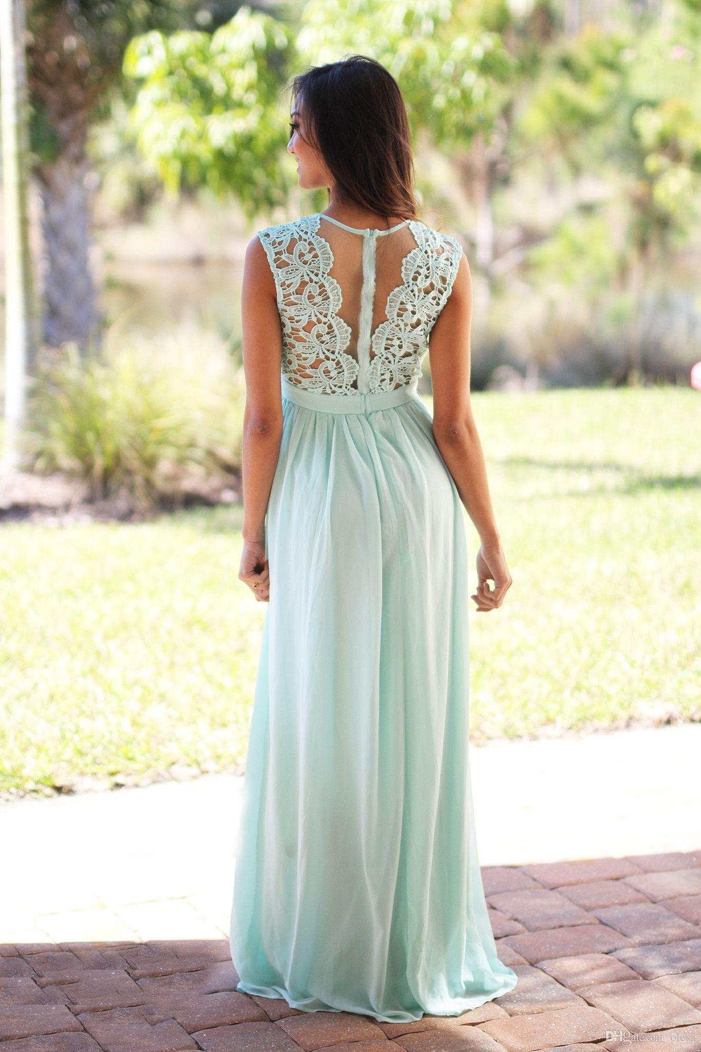 Großhandel Discount Pastell Blue Lace Brautjungfer Kleider 2016 Günstige  Jewel Ausschnitt Chiffon Bodenlangen Lange Lange Brautjungfer Kleider Für