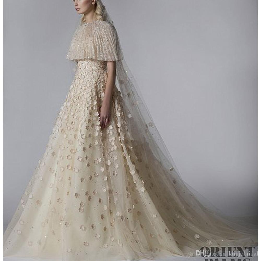 Großhandel Echte Brautkleider Champagner Spitze Mit Jacke Hand Made Flowers  3D Brautkleider Elegantes Hochzeitskleid Von Kimjobridal, 289,41 € Auf