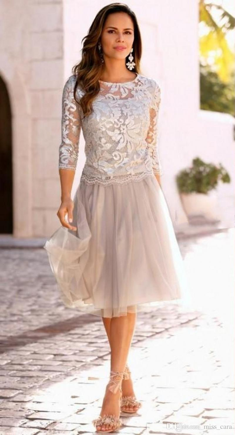 Großhandel Elegante Knielänge Mutter Der Braut Kleider Sheer Neck 3/4  Langarm Spitze Tüll Bräutigam Mutter Kleid Hochzeit Party Kleider Von  Miss_Cara,