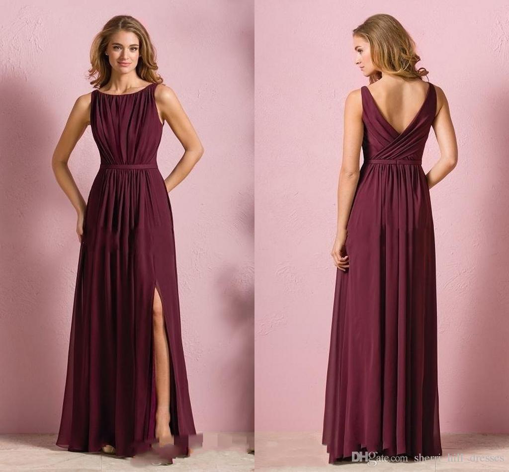 Großhandel Elegante Weinrot Chiffon Strand Brautjungfer Kleider Hochzeit  Kleid Für Frauen Trauzeugin Kleider Mit Split Jewel Neck Dh165 Von