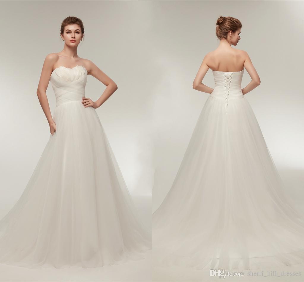Großhandel Elegante Weiße Brautkleider Schatz Mit Feder Eine Linie Tulle  Lange Hochzeit Braut Kleider Für Frauen Brautkleider Kleider Dh4242 Von