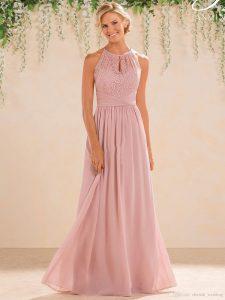 Großhandel Erröten 2017 Lange Brautjungfer Kleider A Line Spitze Chiffon  Rock Juwel Neckbackless Hochzeit Gast Abend Trauzeugin Kleider Plus Größe  Von