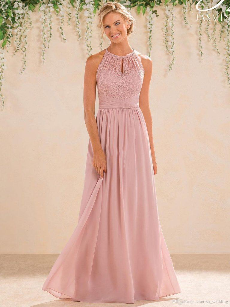 Großhandel Erröten 15 Lange Brautjungfer Kleider A Line Spitze