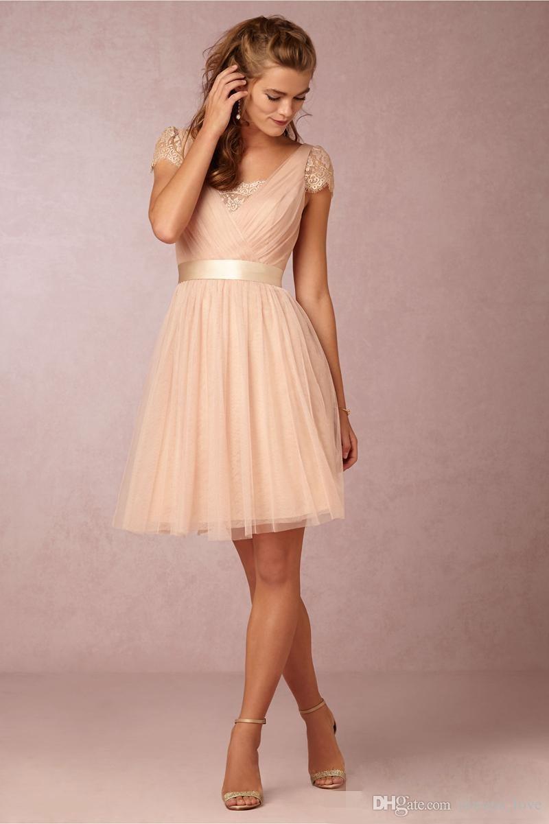 Großhandel Erröten Spitze Kurze Brautjungfer Kleid Tüll Frauen Trauzeugin  Kleid Für Hochzeitsgast Kleid Plus Größe Vestido De Festa De Casamento Von