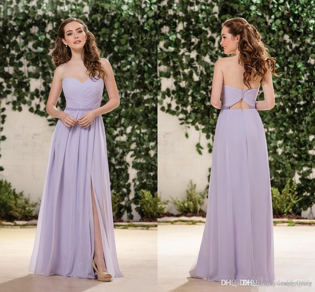 Großhandel Flieder Lavendel Chiffon Brautjungfer Kleider Schatz Seite Split  Stock Länge Junior Brautjungfern Kleider Hochzeit Gast Kleider Von