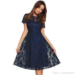 Großhandel Frauen Ol Kleid Retro Kleid Rockabilly Swing Hochzeit Lace Damen  Elegante Vintage Kurzarm Kleid Plus Größe Dk5552Hy Von Andrewknight007,
