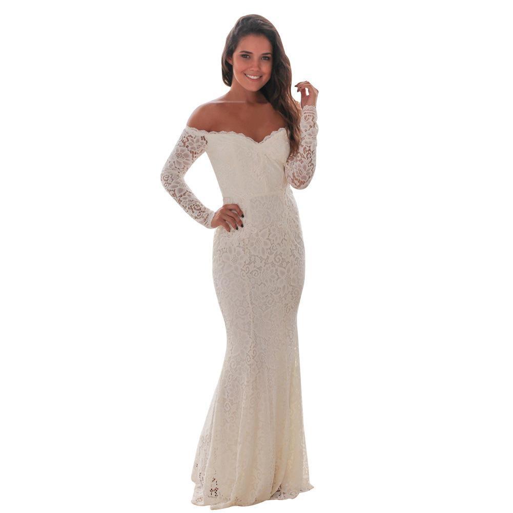 Großhandel Frauen Rot Kleid Langarm Party Meerjungfrau Kleider Perspektive  Floral Maxi Kittel Hochzeit Brautjungfer Robe Von Avive, 26,39 € Auf
