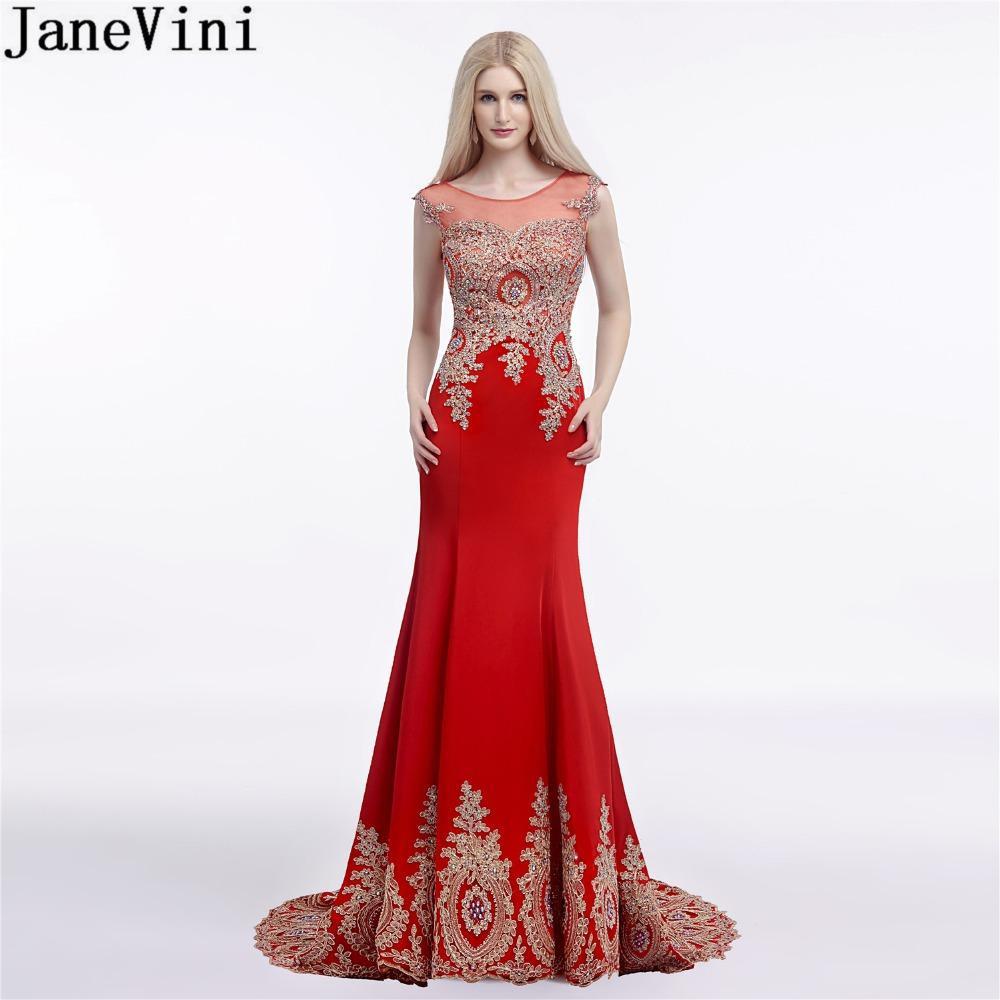 Großhandel Großhandel Elegante Rote Hochzeit Party Kleider Plus Größe Gold  Spitze Lange Meerjungfrau Brautjungfer Kleid Perlen Illusion Satin Formale