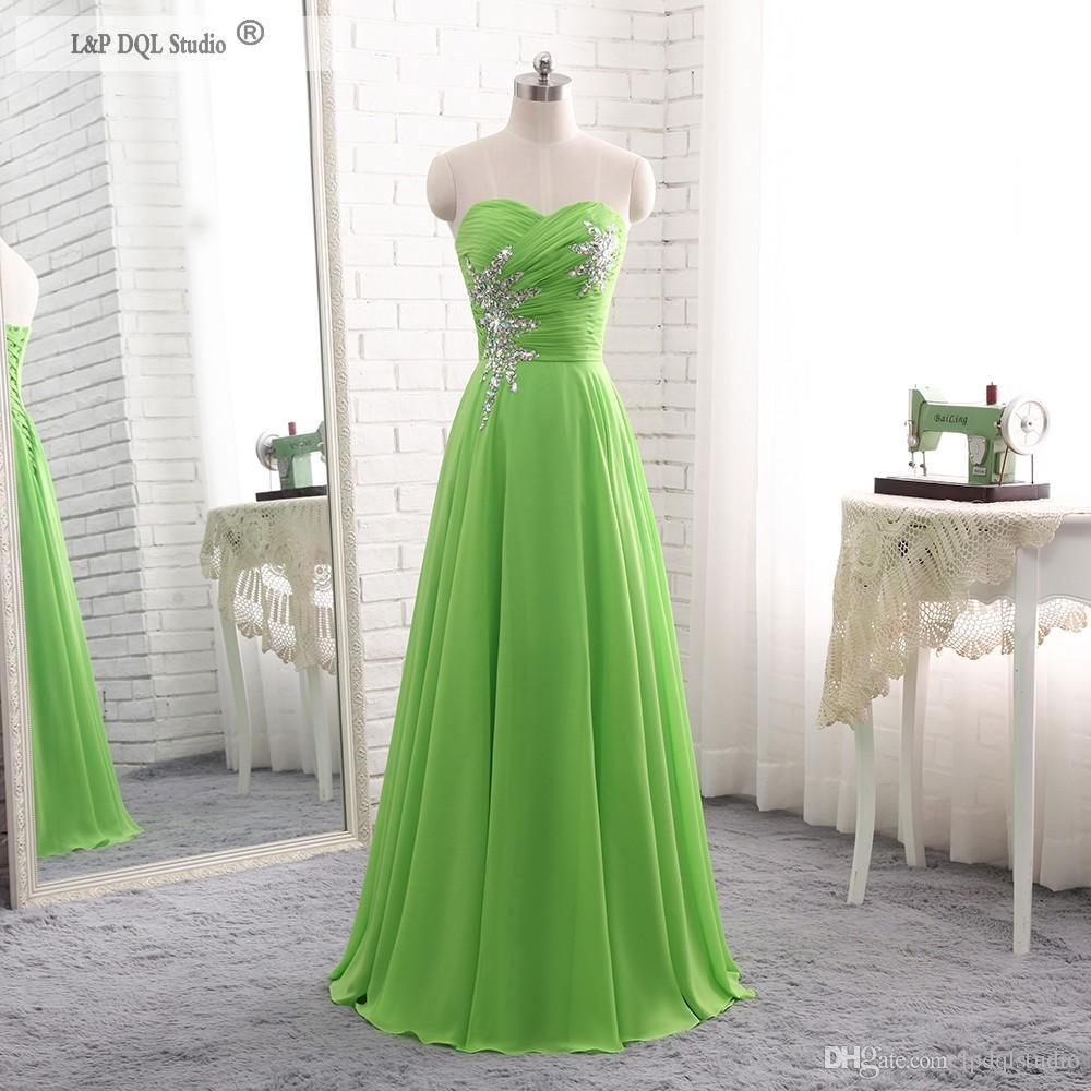 Großhandel Grün Chiffon Brautjungfer Kleider Lange Hochzeit Gast Kleid  Royal Blue, Burgund, Champagner Glänzende Pailletten Perlen Kleid Von