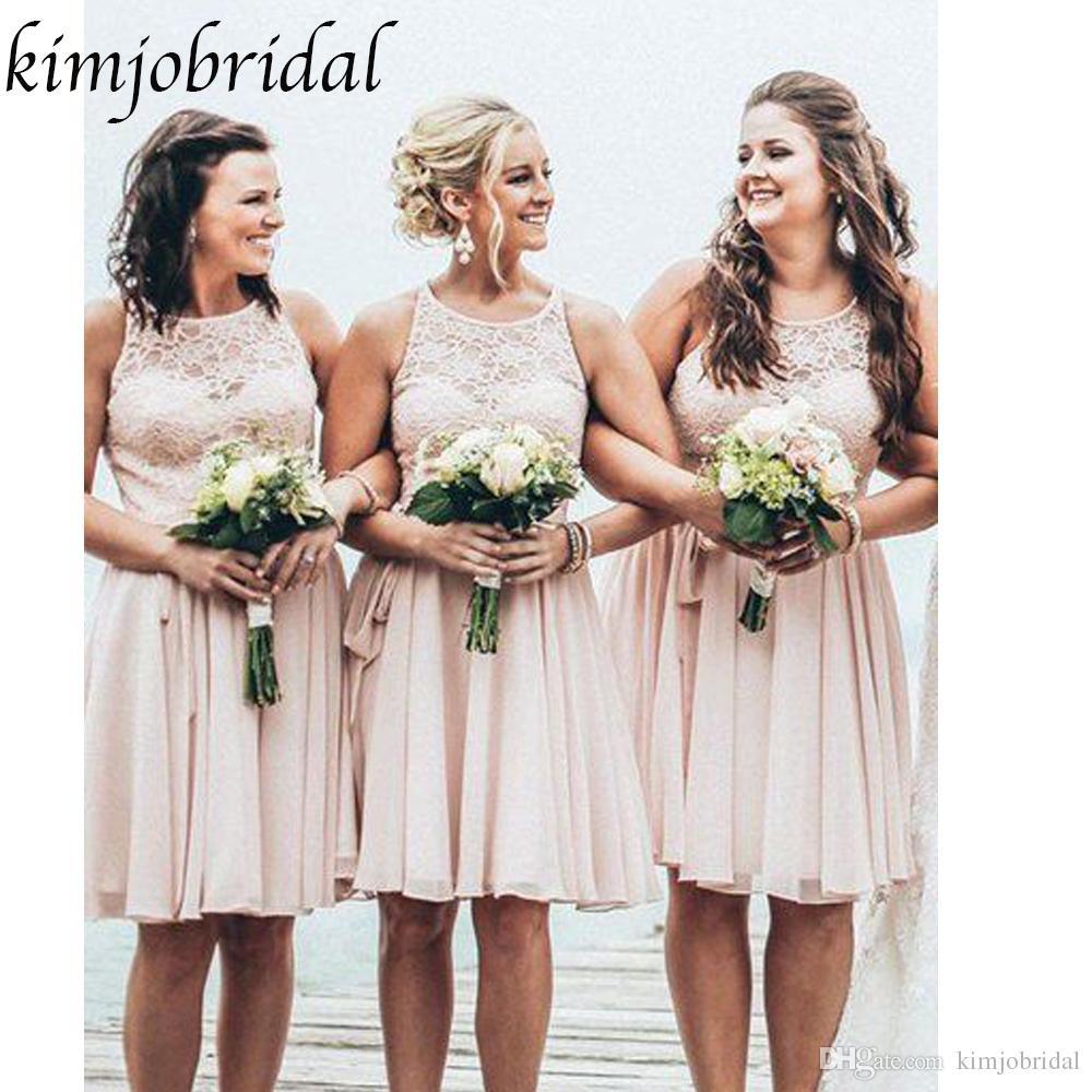 Großhandel Günstige Brautjungfernkleider Rundhalsausschnitt Spitze Sheer A  Line Chiffon Trauzeugin Kleider Hochzeit Party Kleider Von Kimjobridal,