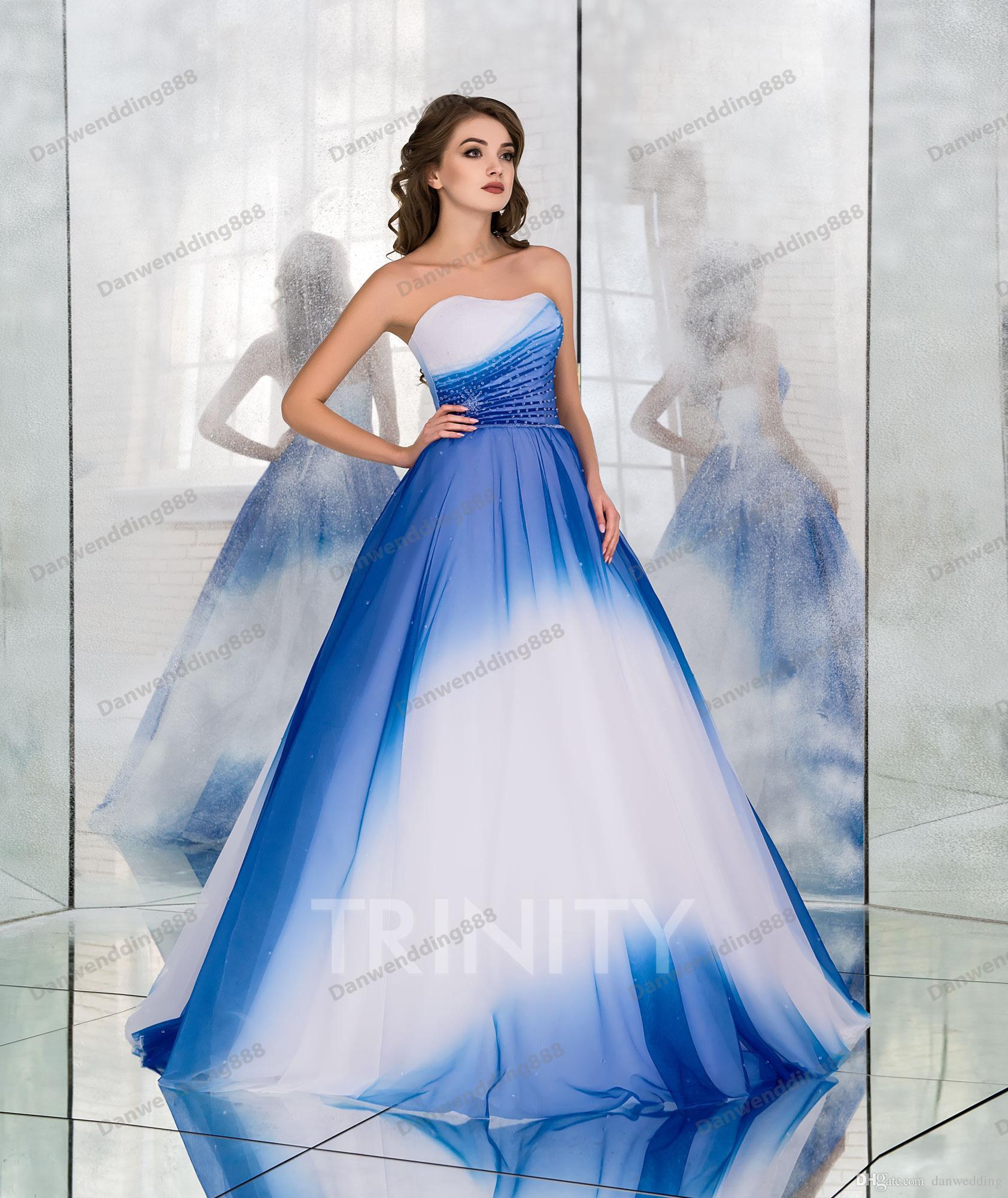 Großhandel Hell Weiß / Blau Shade Chiffon Trägerlosen A Line Brautkleider  Braut Festzug Kleider Hochzeit Kleidung Kleider Benutzerdefinierte Größe 2