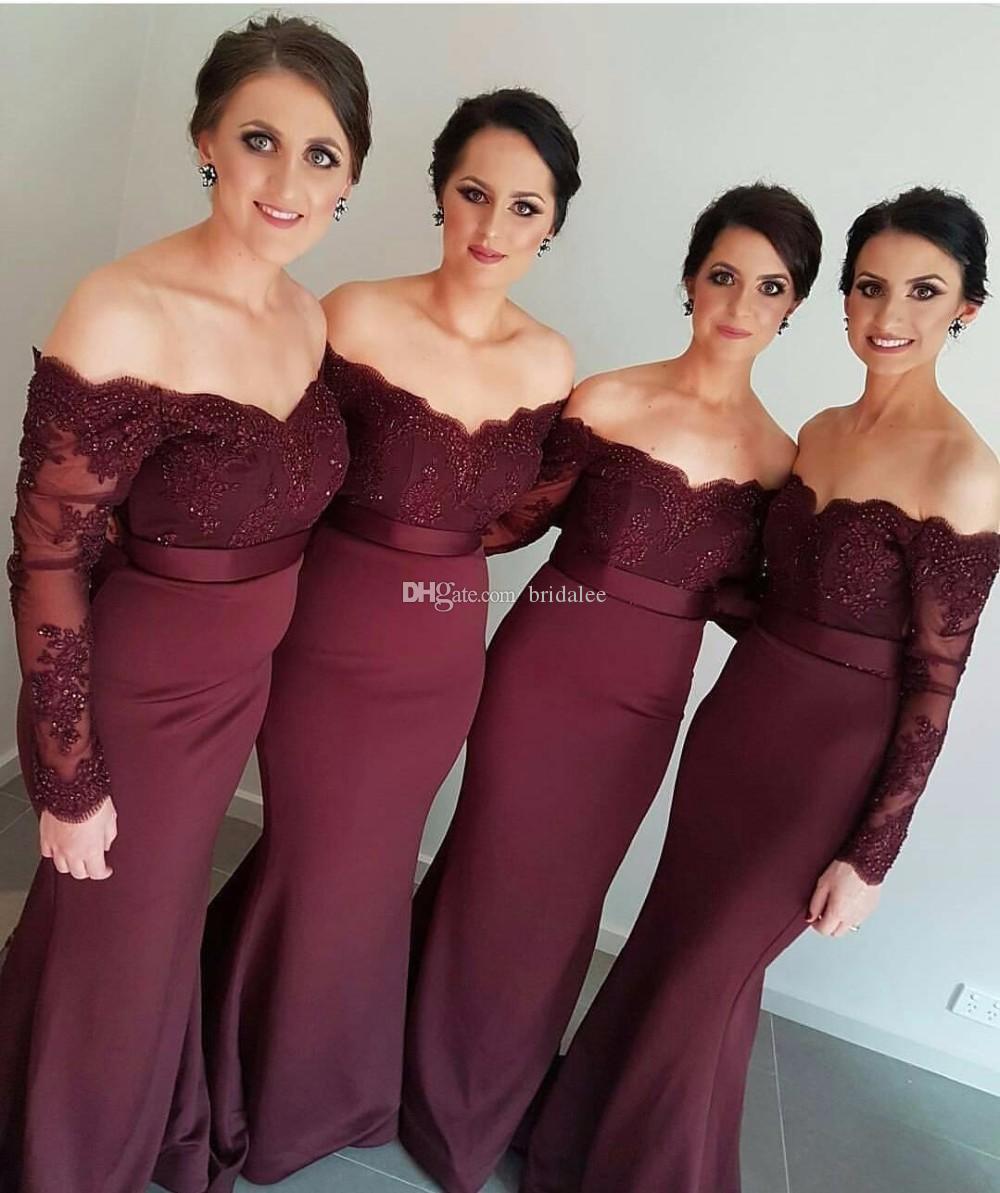 Großhandel Hochzeit Langarm Meerjungfrau Brautjungfernkleider 2016  Dunkelrot Burgund Spitze Schulterfrei Perlen Trauzeugin Kleid Von Bridalee,  80,03 €