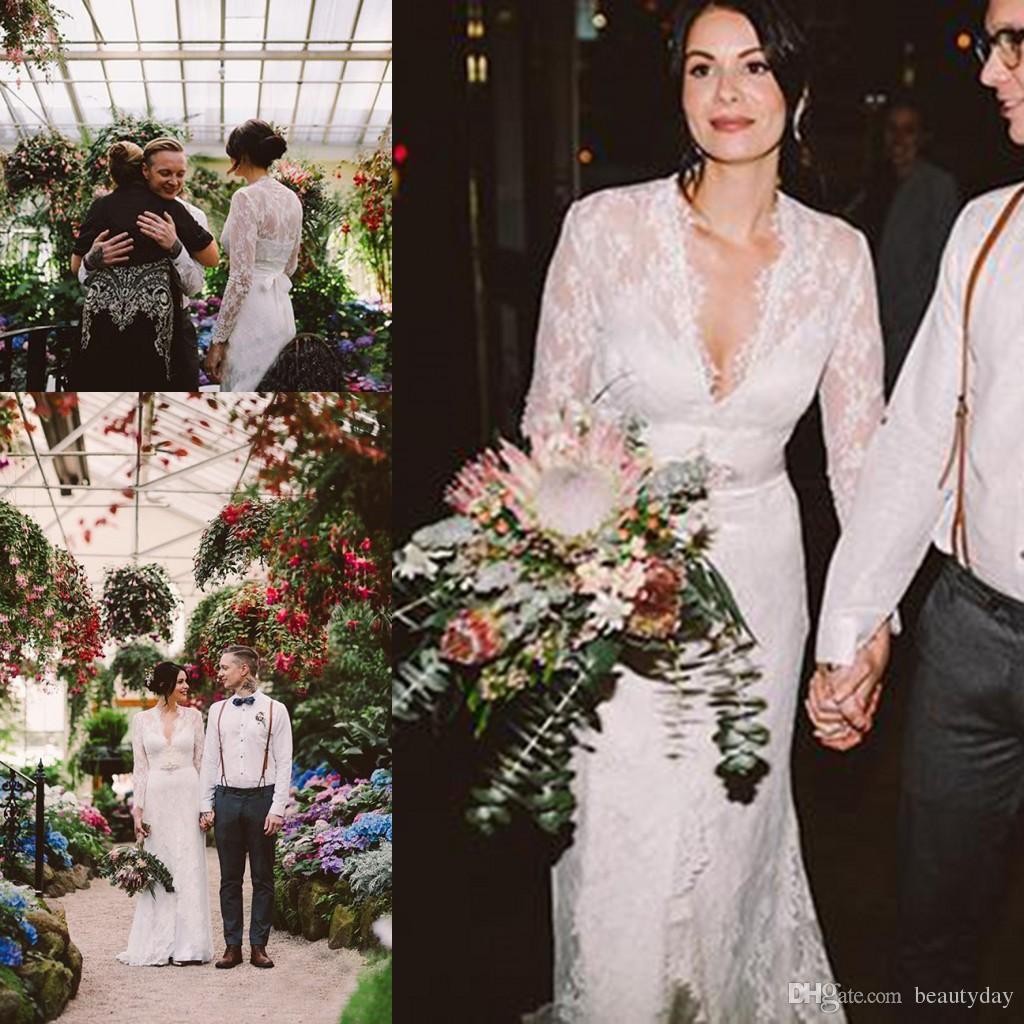 Großhandel Kate Middleton In Jenny Packham Lace Boho Langarm Brautkleider  Mit Gürtel Elegante V Ausschnitt Gardern Land Braut Brautkleider Von