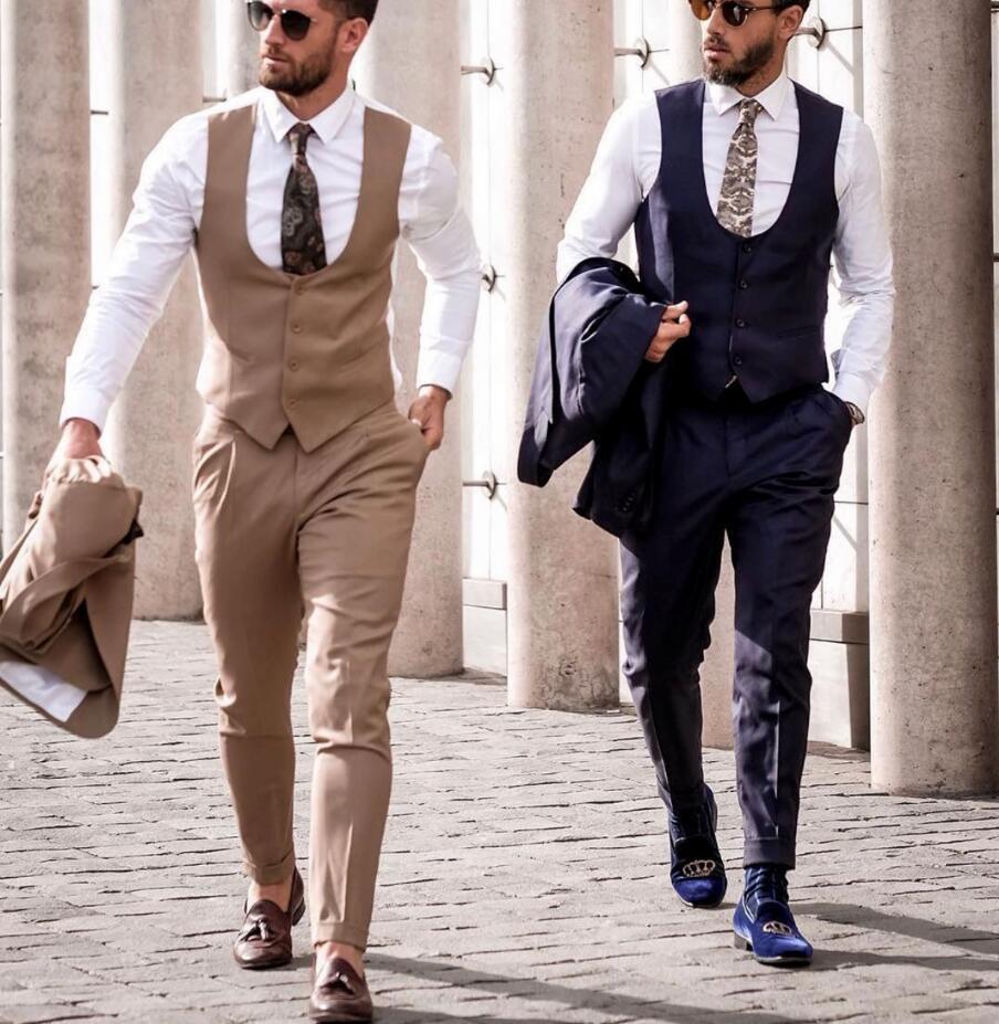 Großhandel Klassische Brown Hochzeit Smoking Männer Anzug Für Slim Fit  Bräutigam Outfit Groomsmen Kleidung Formalen Partei Smoking 3 Stück Anzug