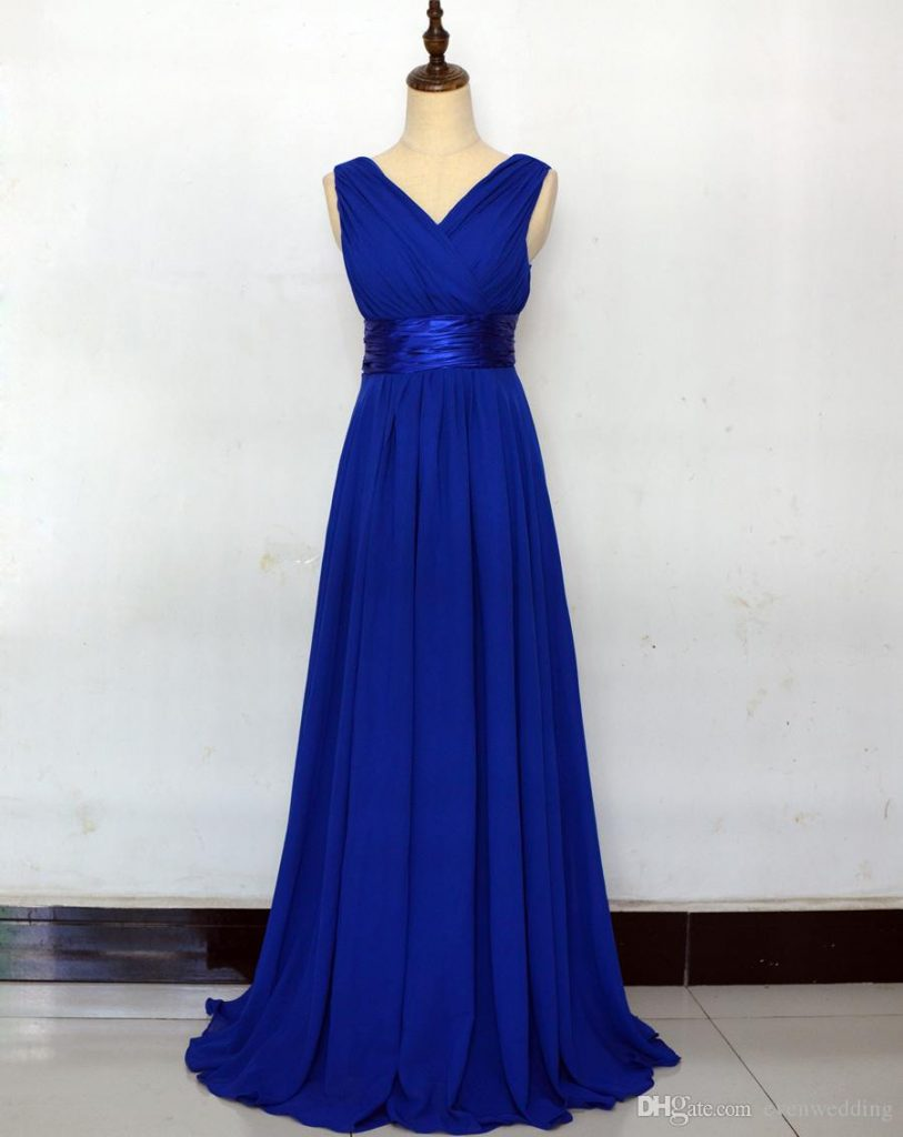großhandel königsblau chiffon strand brautjungfer kleider