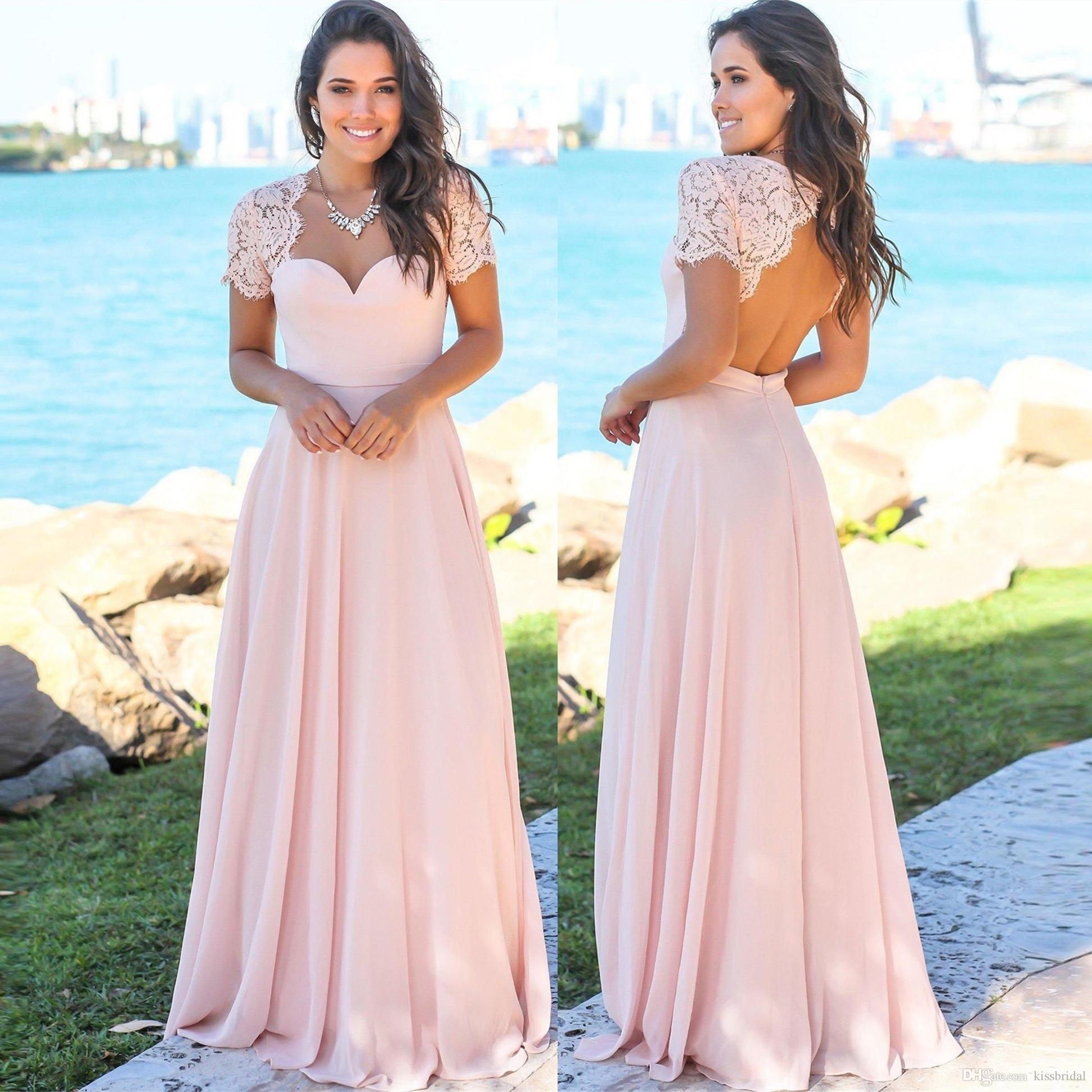 Großhandel Kurzarm Brautjungfer Kleider Günstige 2019 Spalte Backless  Spitze Chiffon Lange Rosa Formale Kleider Hochzeit Gast Prom Ball Party  Kleid