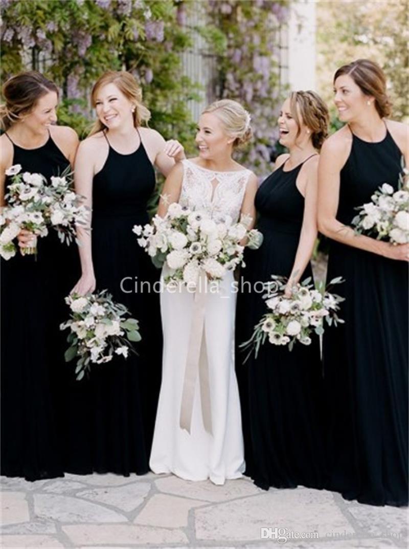 Großhandel Lange Halfter Chiffon Mantel Brautjungfer Kleider Schwarz Land  Hochzeit Kleider Backless Trauzeugin Kleid Robes Von Cinderella_Shop, 66,43