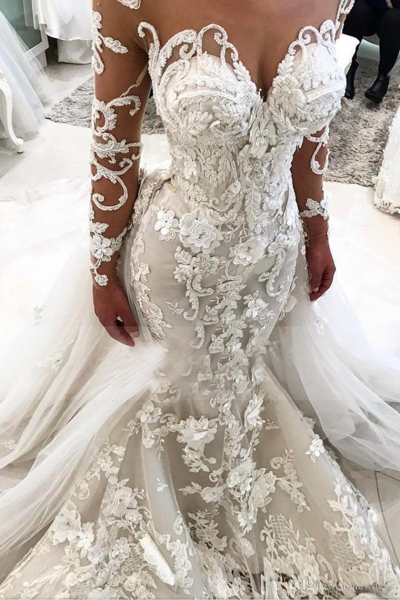 Großhandel Luxus Meerjungfrau Brautkleid Mit 3D Blumen Sheer Neck Vestido  De Novia Lange Ärmel Plus Size Brautkleider Von Newdeve, 171,85 € Auf