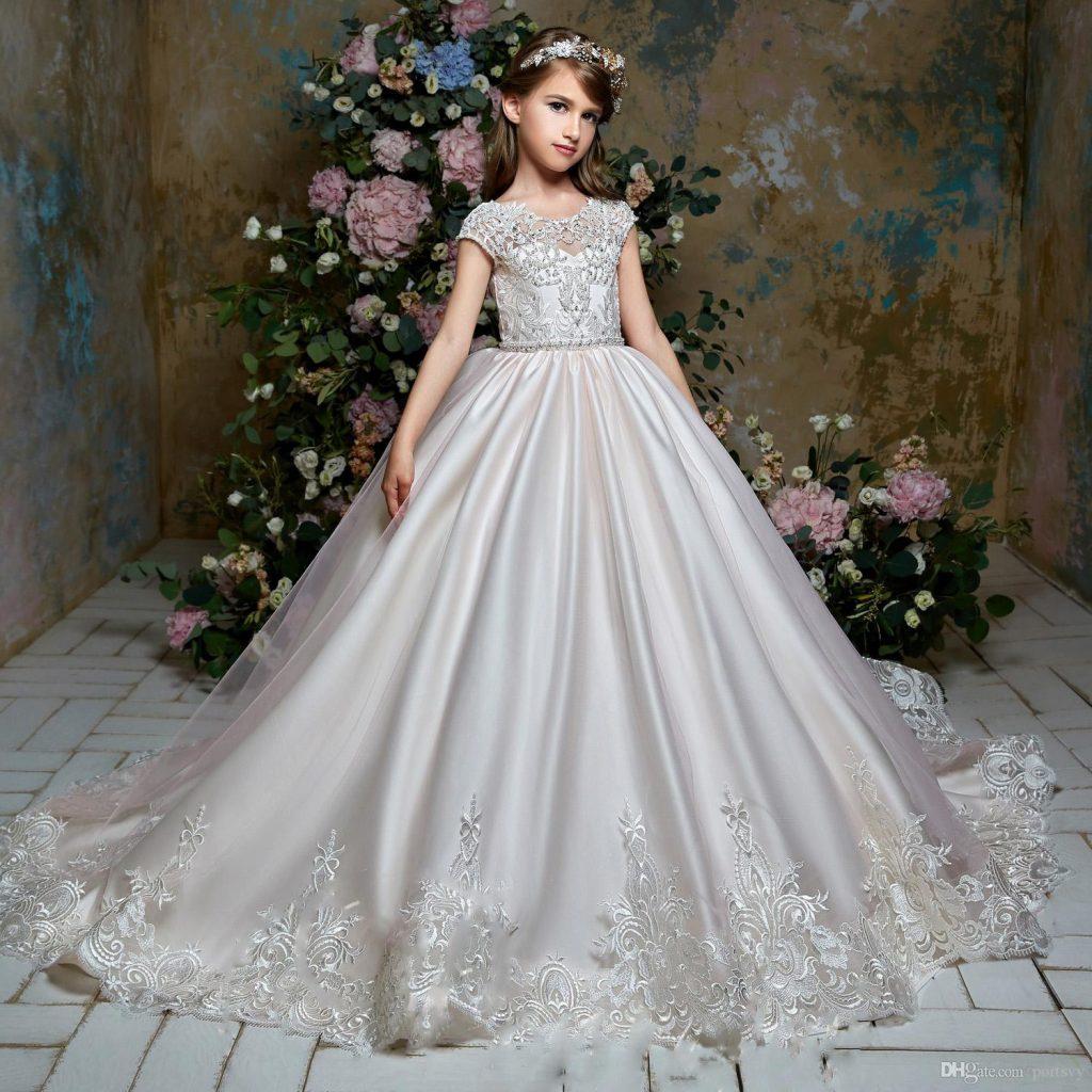 Großhandel Mädchen Blume Hochzeit Pageant Party Kleid Tüll Kleid