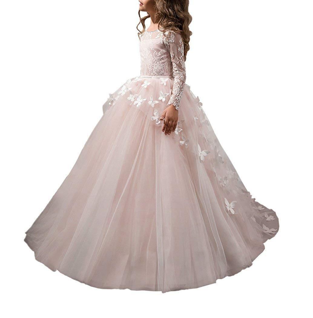 Großhandel Mädchen Kommunion Kleider Schöne Volle Ärmel Friesen  Schmetterling Blumenmädchen Kleid Hochzeit Abendkleid Von Hilian, 50,94 €  Auf