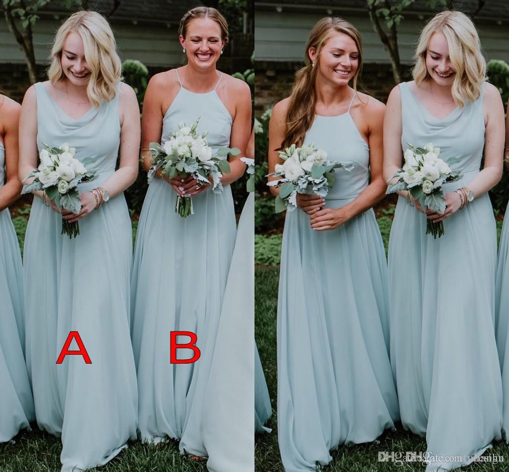 Großhandel Mint Green 2019 New A Line Bridesmaids Kleider Gefalteter Halter  Ansatz Fußboden Längen Formale Maid Of Honor Kleid Hochzeitsgast Kleid