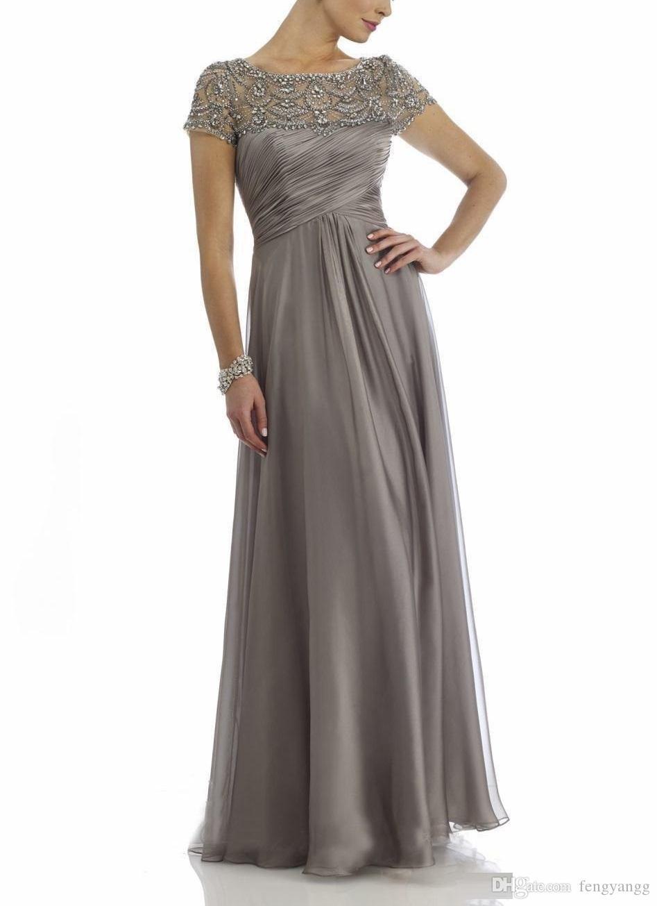 Großhandel Mutter Der Braut Kleid Vintage Chiffon Hochzeit Party Kleider  Hohe Qualität Kurze Ärmel Abendkleid Benutzerdefinierte Größe Von  Fengyangg,