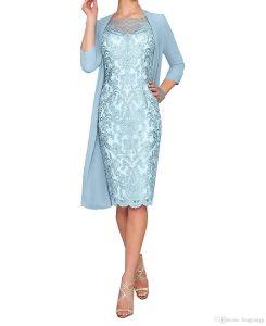 Großhandel Mutter Der Braut Kleider Hochzeit Kleid Knielangen Chiffon Sicke  Mantel Mutter Der Braut Kleid 3/4 Hülse Mit Jacke Von Fengyangg, 85,99 €