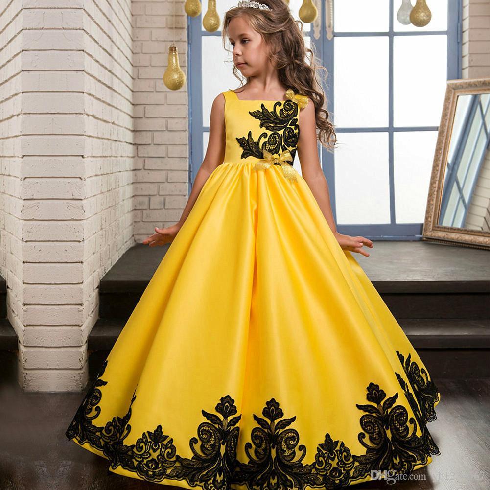 Großhandel Neue Ankunft Gelb Teenager Mädchen Prinzessin Kleidet Jugendlich  Mädchen Abschlussball Langes Kleid Mädchen Formales Kleid Kinder Hochzeit