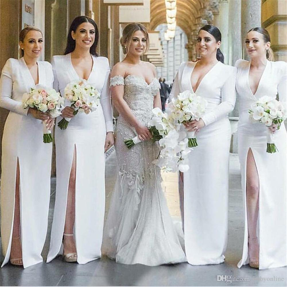 Großhandel Neueste Long Sleeves Brautjungfern Kleider Für Formale Herbst  Winter Hochzeiten Tiefem V Ausschnitt Front Split Abendkleid Hochzeit Gast