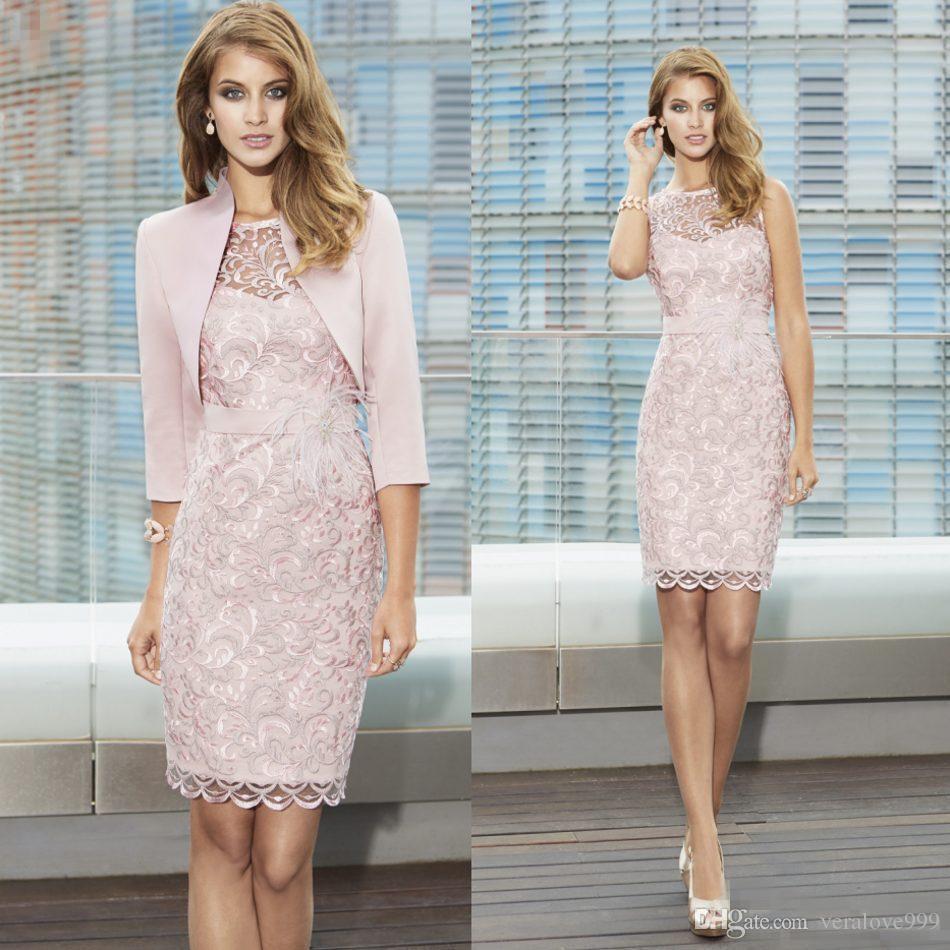 Großhandel New Full Lace Mutter Der Braut Kleider Sheer Juwel Hals