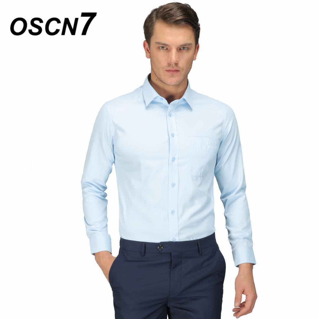 Großhandel Oscn7 Solide Business Hemden Männer Plus Größe Casual Büro  Tragen Hochzeit Herren Kleid Shirts Camisa Masculina 1101 Von Eggplant18,  22,26