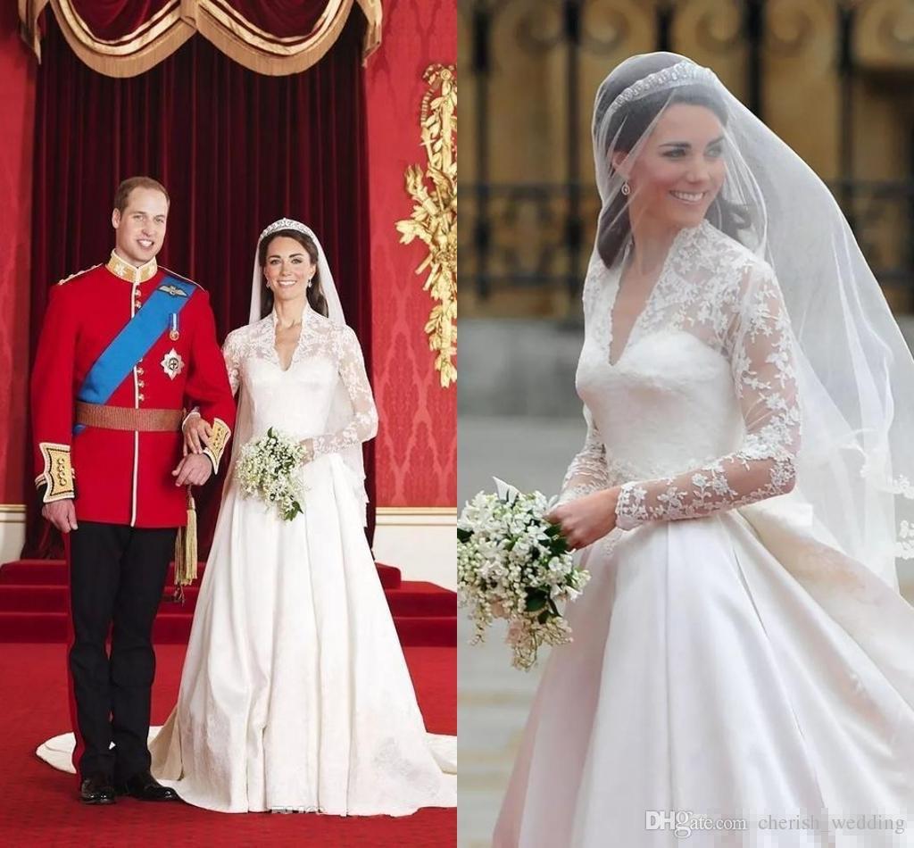 Großhandel Retro Kate Middleton Brautkleider A Linie Princess Sheer Mit  Langen Ärmeln V Ausschnitt Spitze Stickerei Satin Brautkleid Von