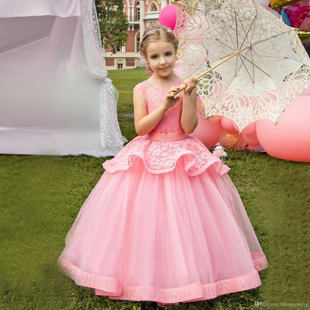 Großhandel Rosa Blumen Mädchen Kleid Für Hochzeit Kinder
