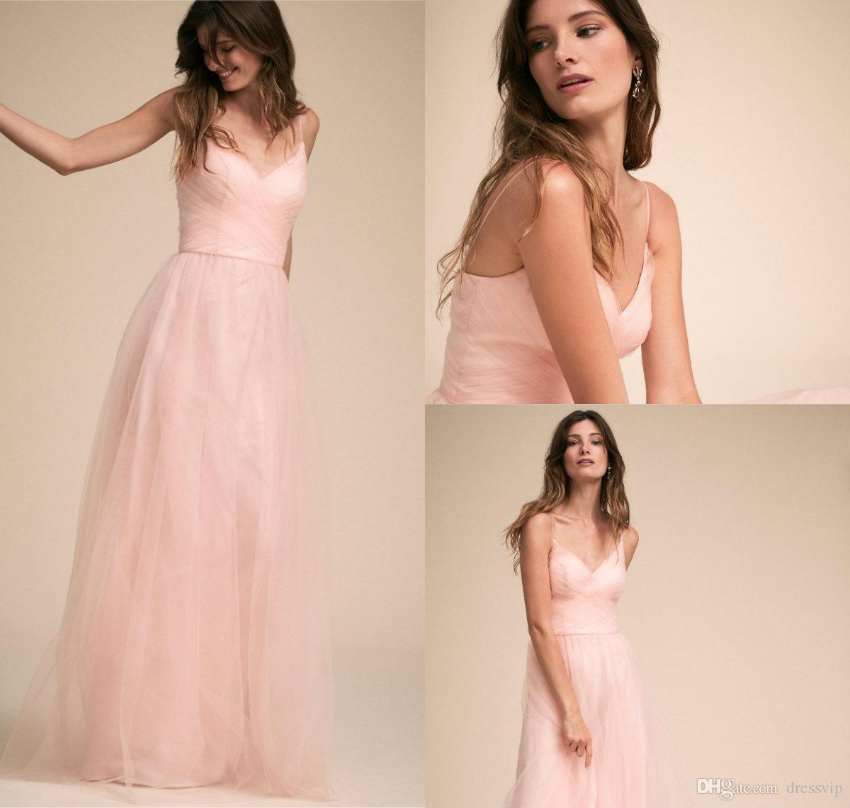 großhandel rosa brautjungfer kleider für den sommer garten