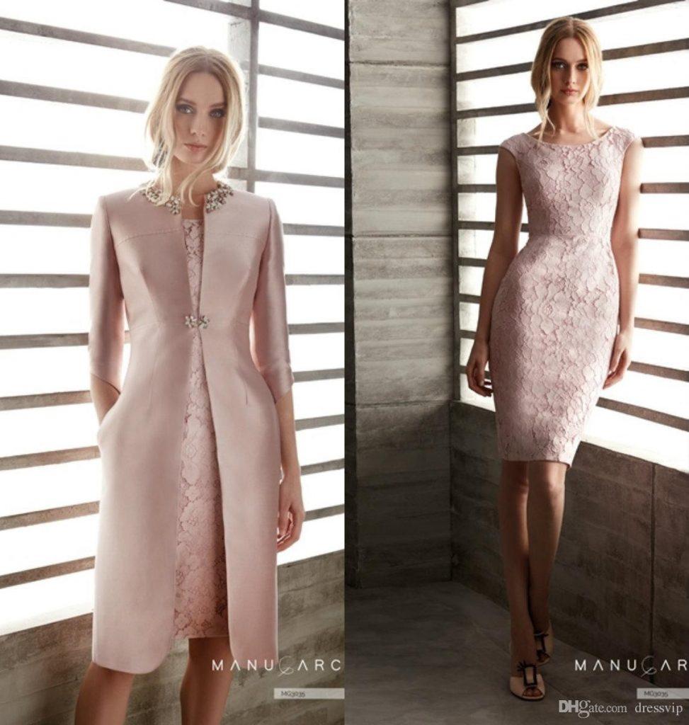 großhandel rosa mutter der braut kleider mit jacke spitze