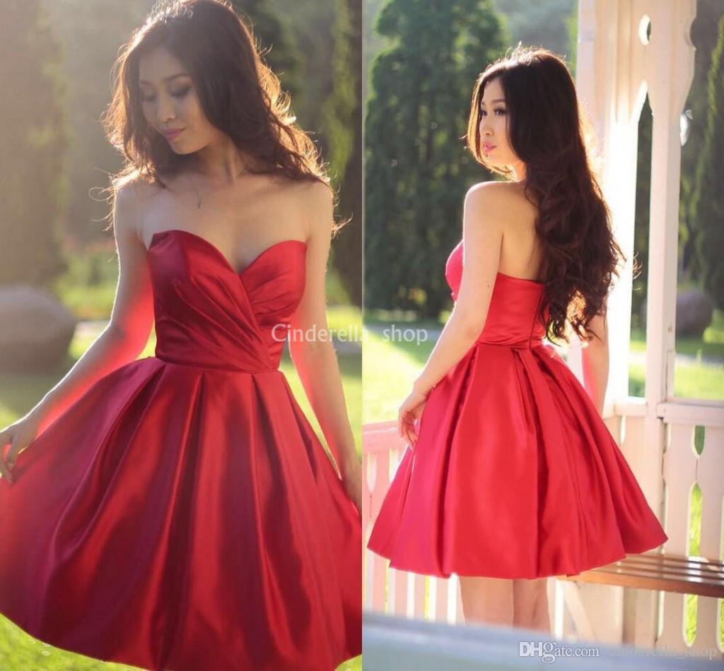 Großhandel Rot Über Knielänge Brautjungfern Kleider 2019 Liebsten Falten  Eine Linie Kurze Brautjungfer Kleid Hochzeit Gast Partei Kleider Günstige