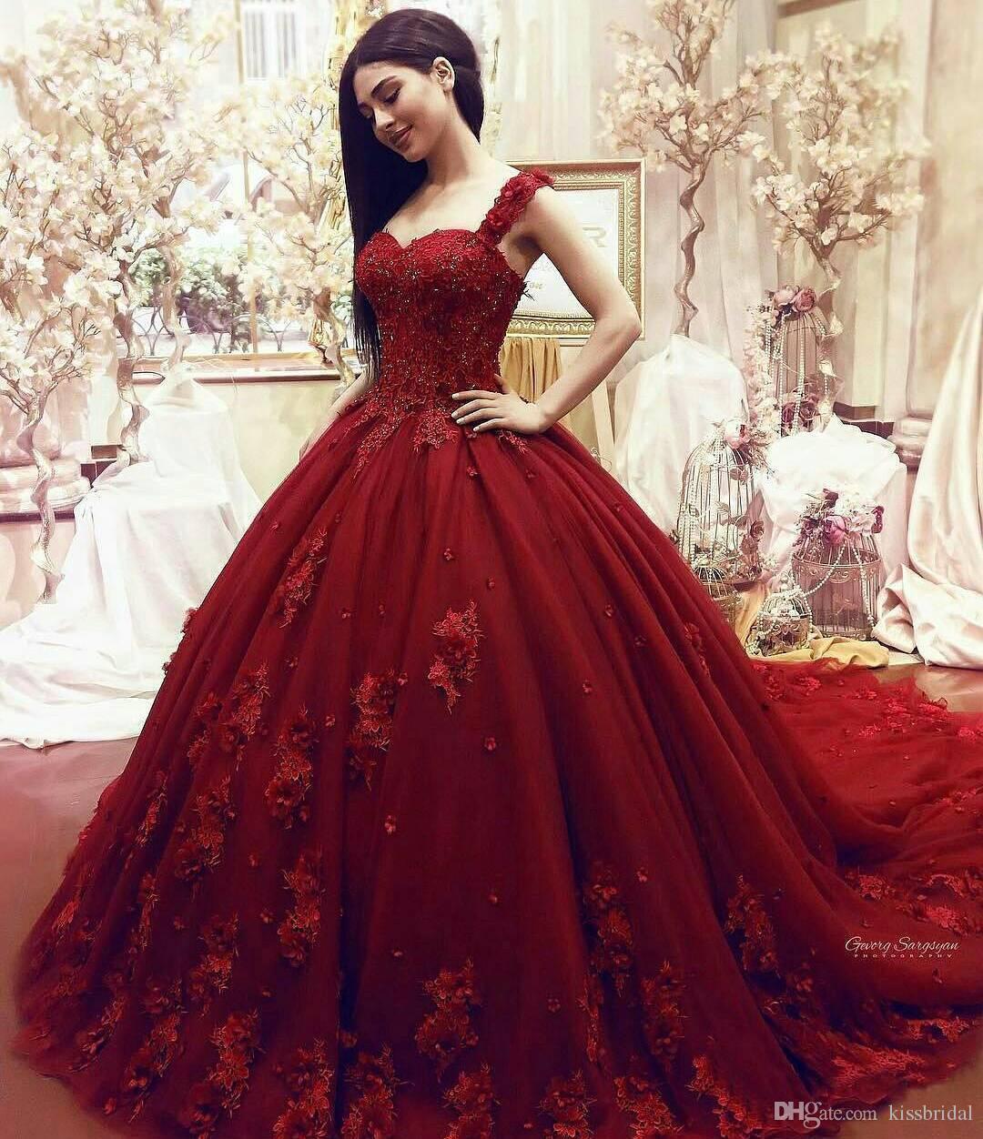 Großhandel Rote Ballkleid Brautkleider Elegante Prinzessin 2019 Aus Der  Schulter Spitze Appliques Handmade Blumen Tüll Braut Formale Kleider Von