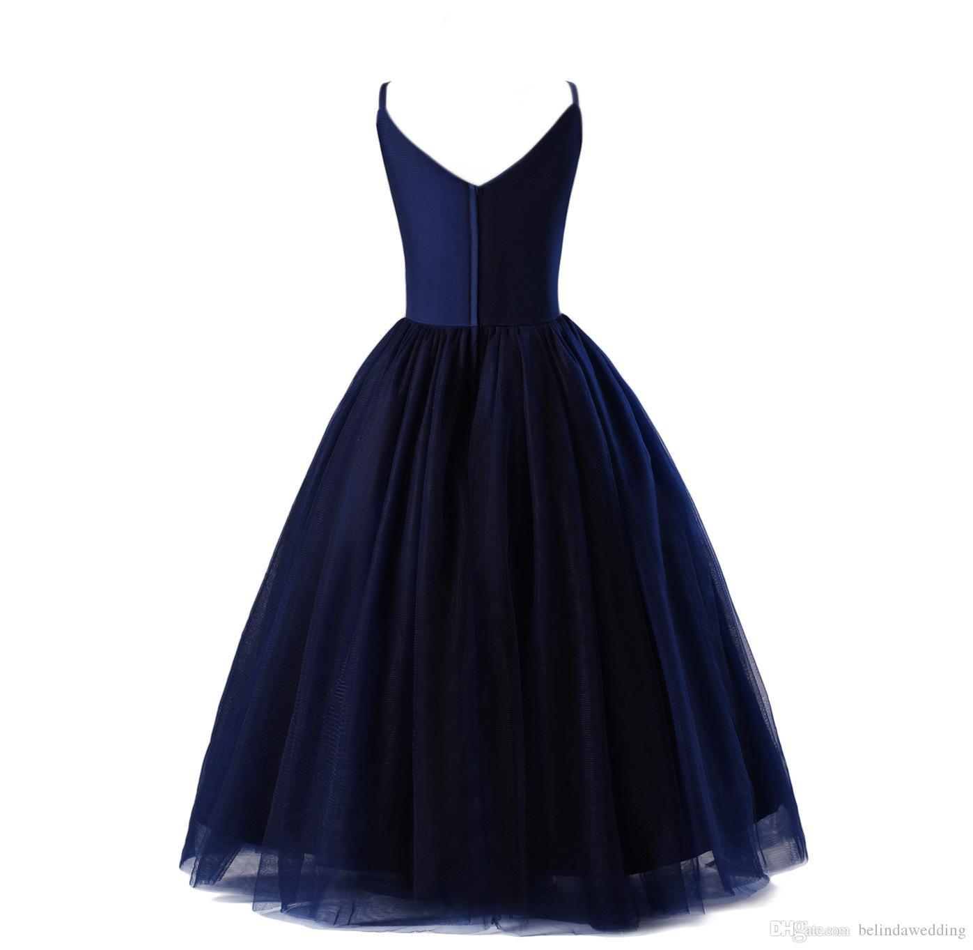 Großhandel Schöne Mädchen Kleid Für Hochzeit Marineblau Blume Kleider V  Ausschnitt Bodenlangen Schöne Prinzessin Mädchen Festzug Kleid Party  Kleider
