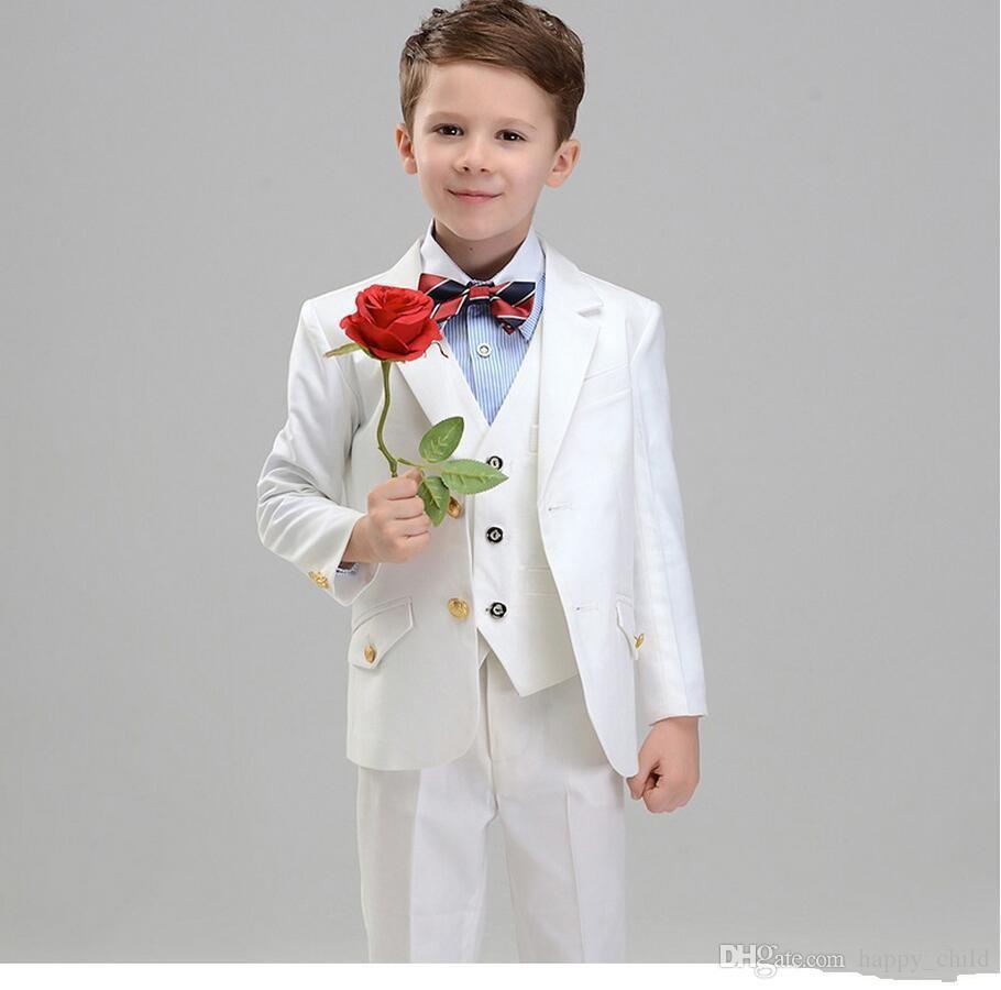 Großhandel Stil Weiße Jungen Formale Anlässetuxedos Kerbe Revers Zwei Knopf  Kinder Hochzeit Smoking Kind Anzug Urlaub Kleidung Jacke + Pants + Tie +