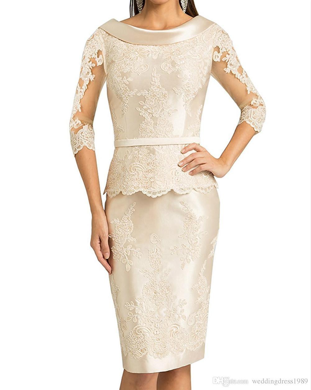 Großhandel Stunning 3/4 Langarm Mutter Formelle Kleidung Lace Mutter Des  Bräutigams Hochzeit Gast Kleid Abend Mutter Der Braut Kleid Anzug Kleider  Von