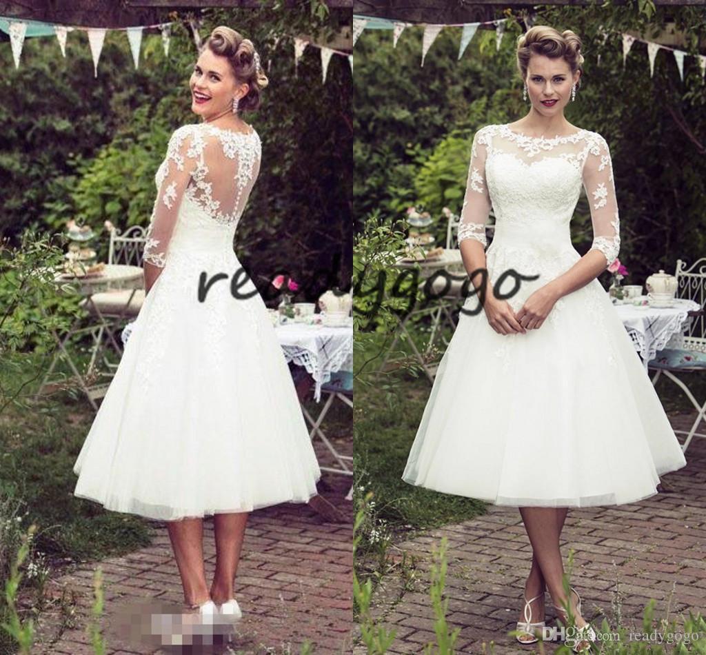 Großhandel Vintage 11Er Jahre Stil Kurze Spitze Brautkleider