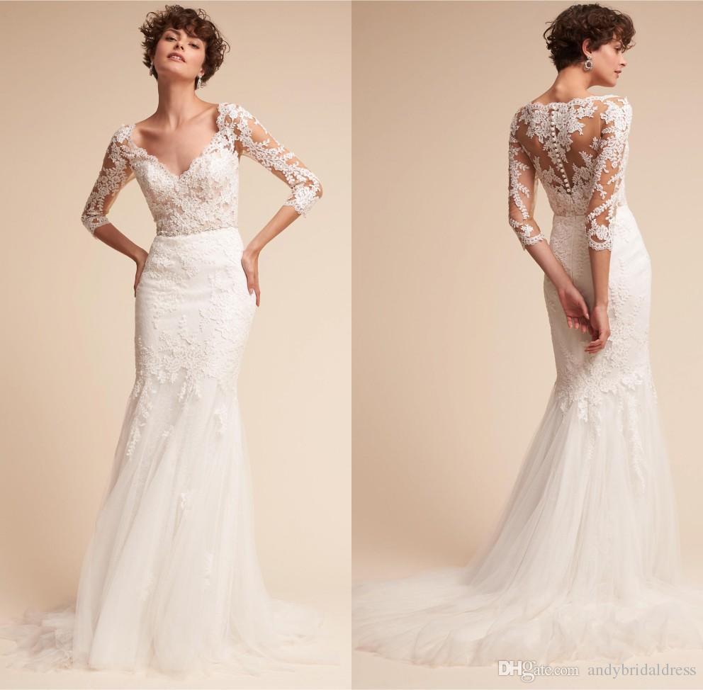 Großhandel Vintage V Ausschnitt Trompete Boho Hochzeitskleid 3/4 Ärmeln  Bedeckt Tasten Mermaid Brautkleider Spitze Brautkleider Von  Andybridaldress,