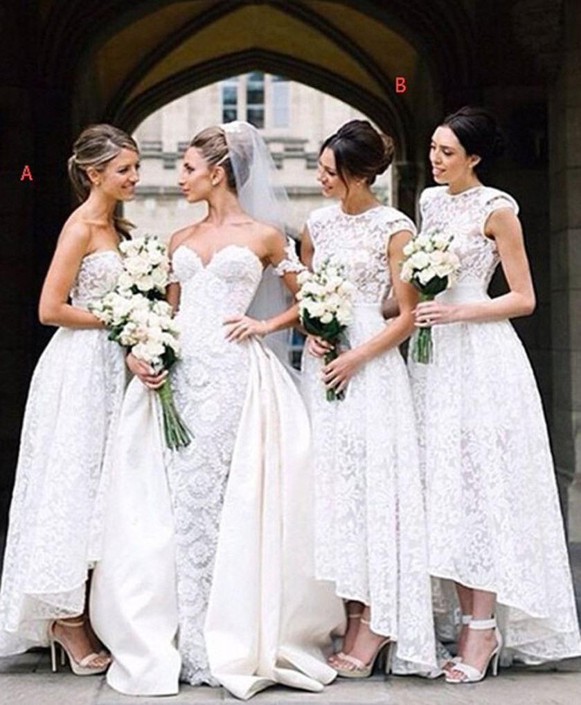 Günstig Brautjungfernkleider Lang Spitze A Linie Kleider