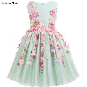 Günstige Schöne Hellgrün Blume Fee Mädchen Prinzessin Kleid